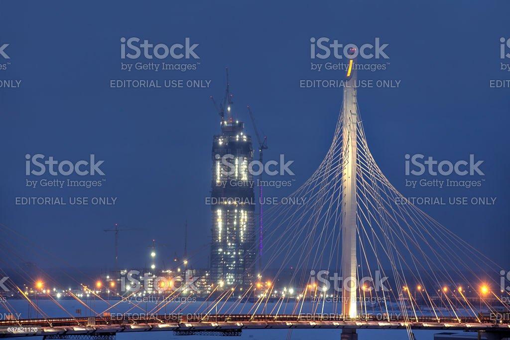 Building Gazprom Tower, Saint Petersburg, Russia, winter evening. stock photo