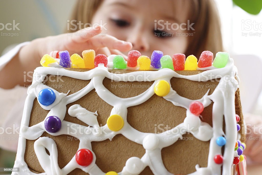 Building gingerbread house royalty-free stock photo