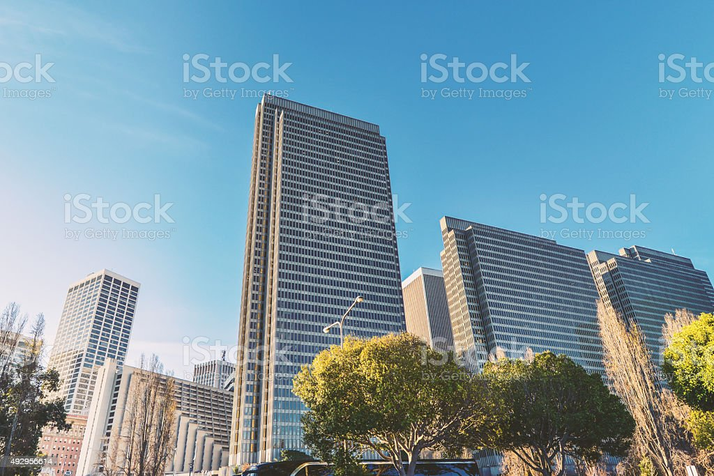 Building group of the San Francisco waterfront stock photo