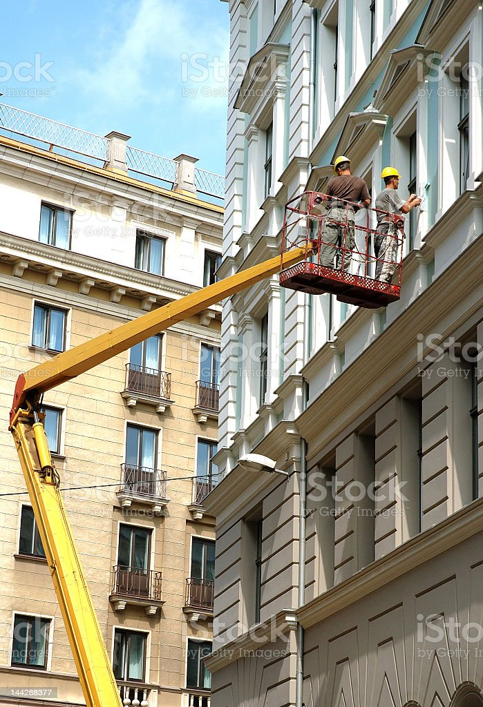 A building having repairs made on it royalty-free stock photo