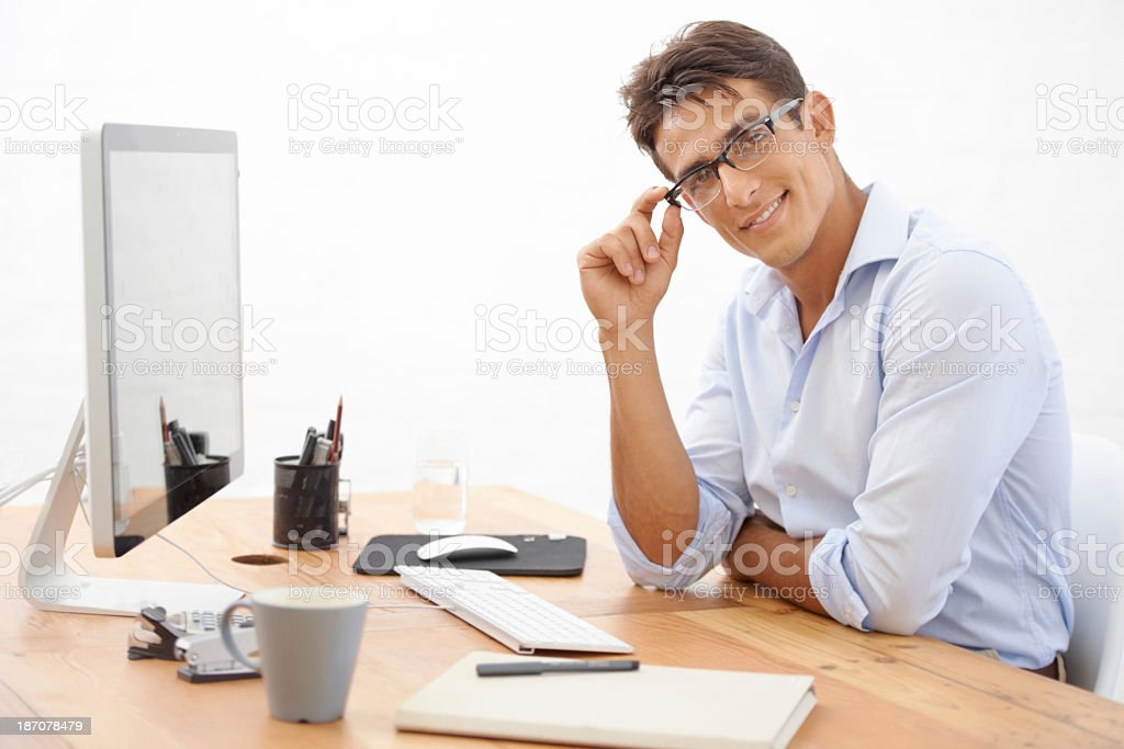 Building his business with a smile royalty-free stock photo