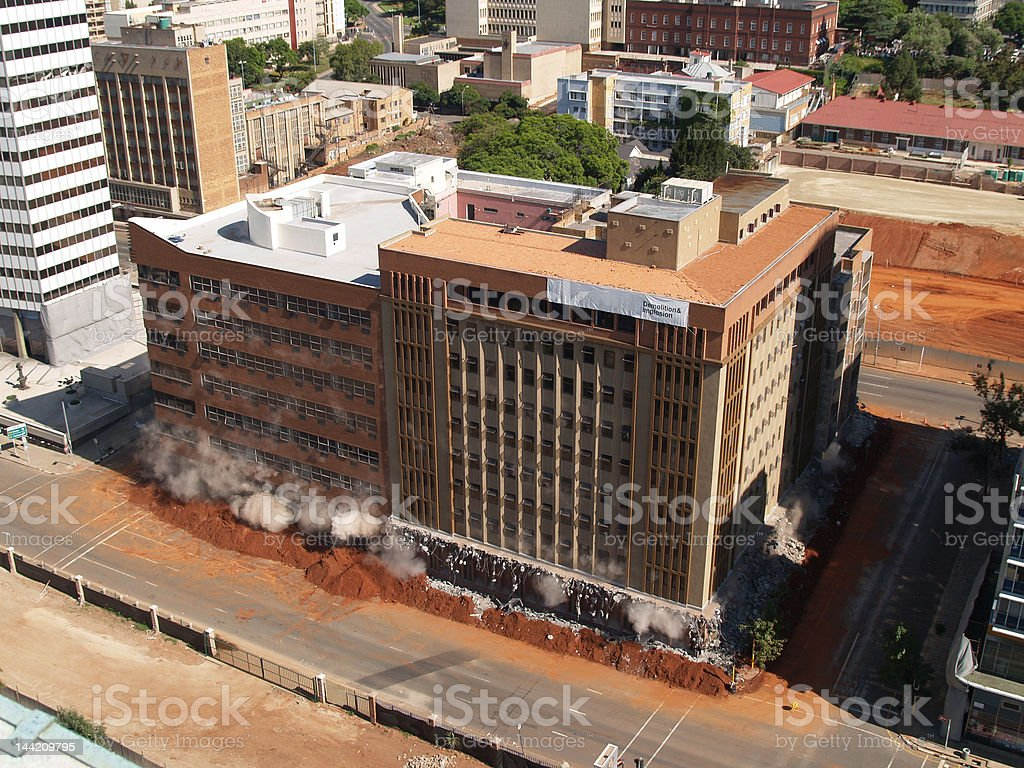 Building implosion in downtown Johannesburg, South Africa royalty-free stock photo