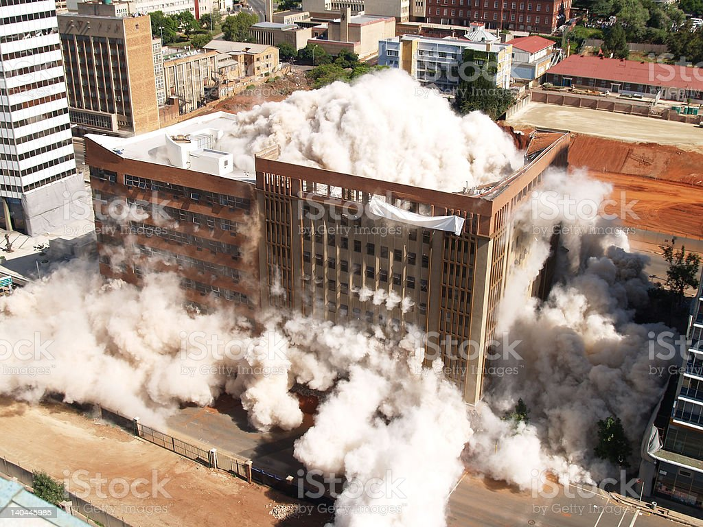 Building implosion in Johannesburg, South Africa stock photo