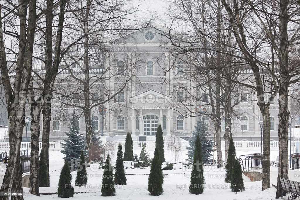 Building in a park at winter time stock photo