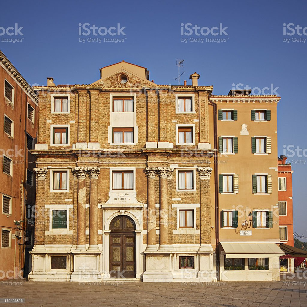 Building in Campo San Blasio at sunset. Venice-Italy royalty-free stock photo
