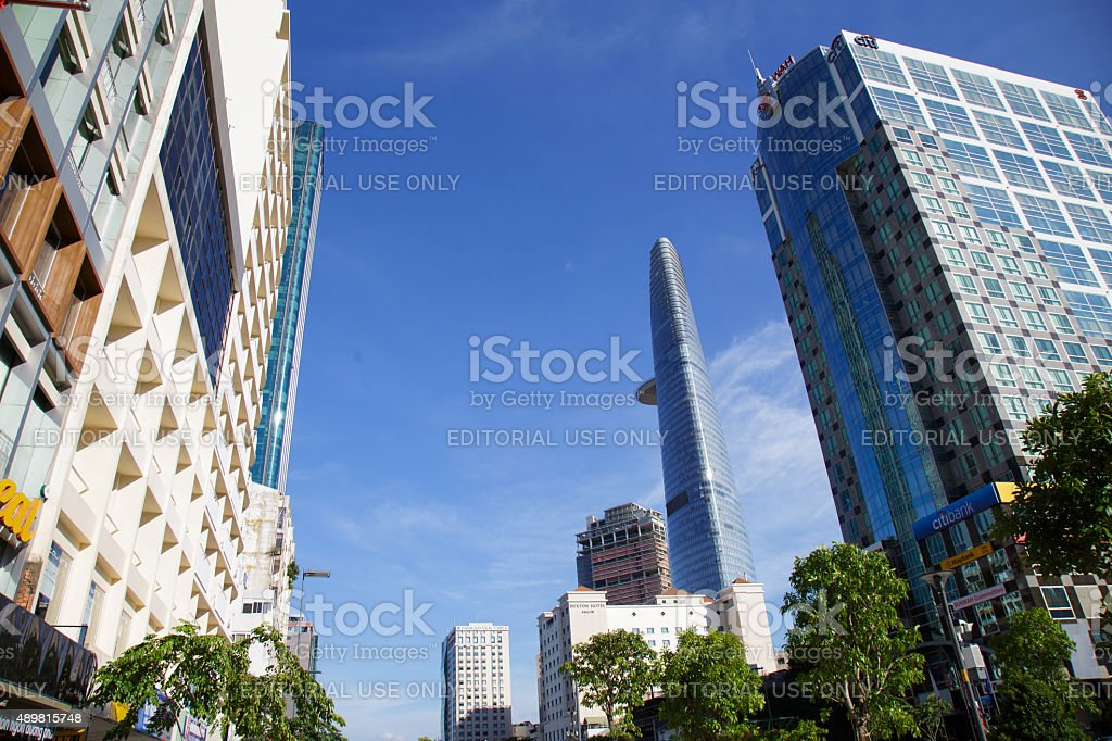 Building in downtown at Nguyen Hue Pedestrian Street. royalty-free stock photo