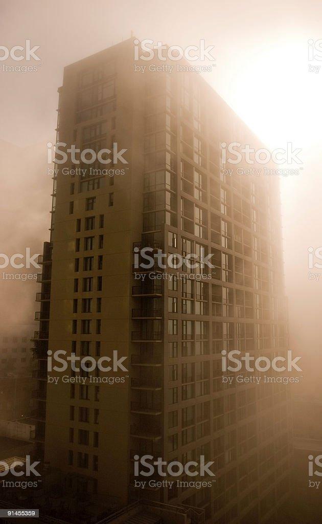 Building in Fog stock photo