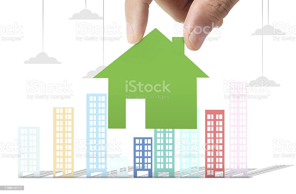Building in  hand businessmen royalty-free stock photo