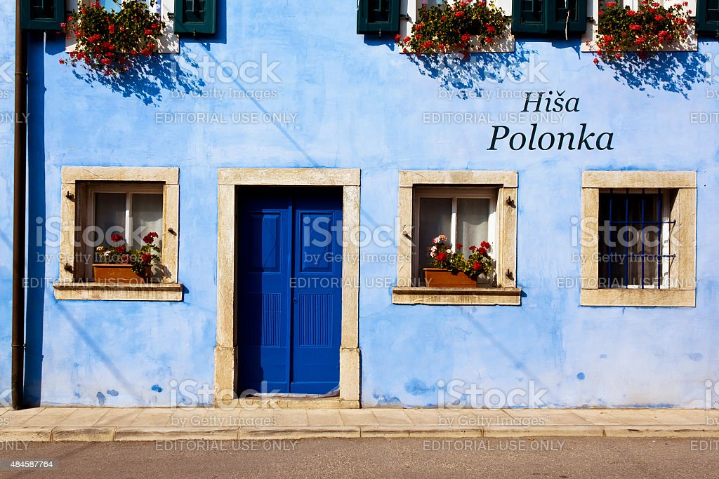 Building in Kobarid, Slovenia stock photo