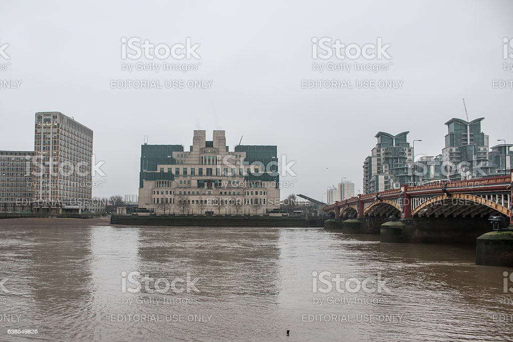 MI6 building in London in a grey foggy morning stock photo