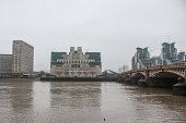 MI6 building in London in a grey foggy morning