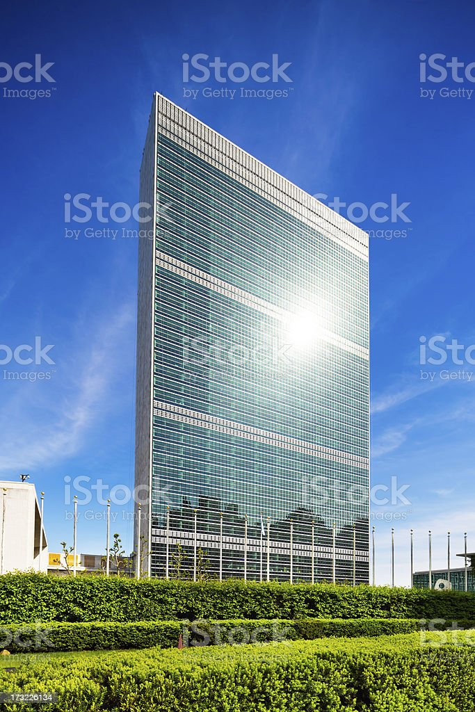 UN Building in Manhattan, New York stock photo