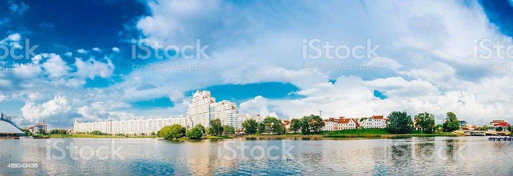 Building In Old Part Minsk, Downtown Nyamiha Nemiga,   Belarus stock photo