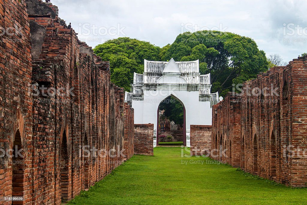 Building in Phra Narai Ratchaniwet stock photo