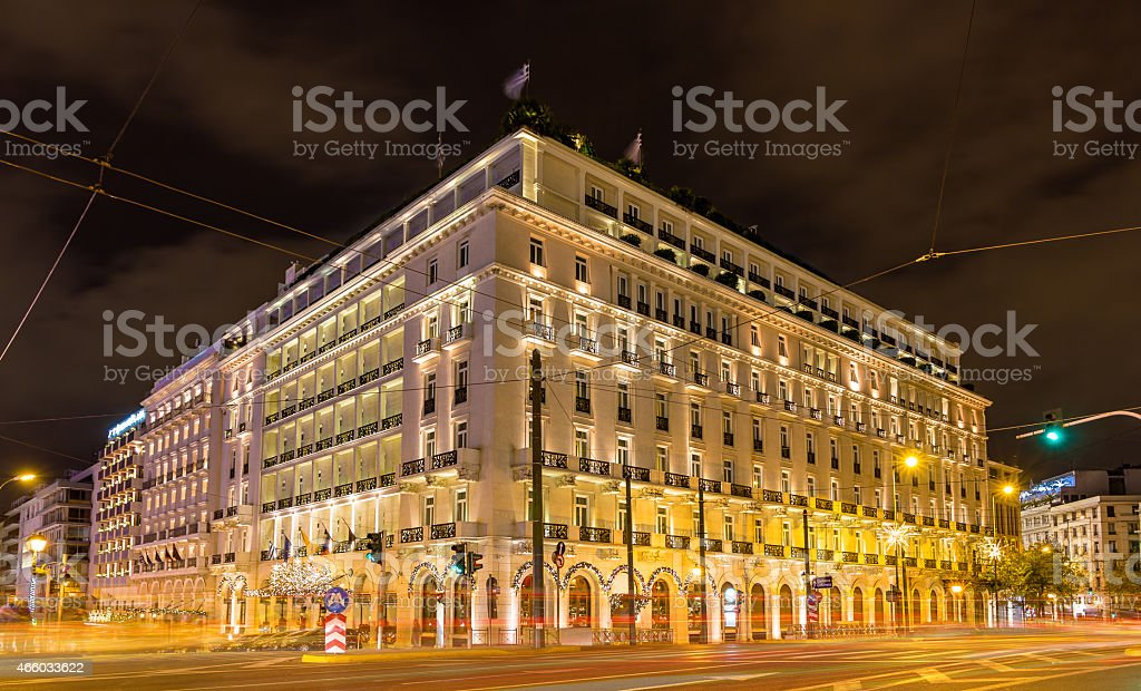 Building in the city center of Athens decorated for Christmas stock photo
