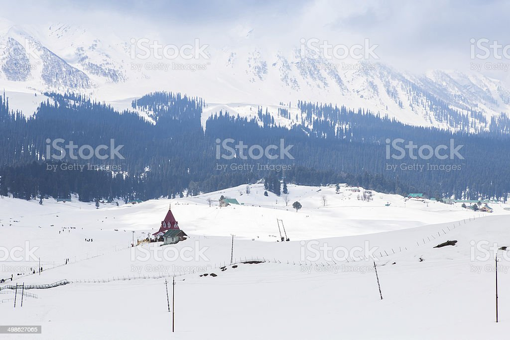 Building in the middle of Himalaya mountains stock photo