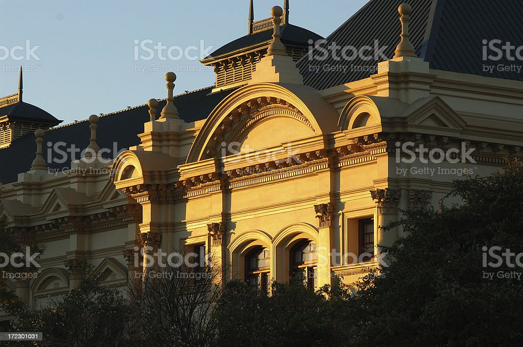 building in the sunset stock photo
