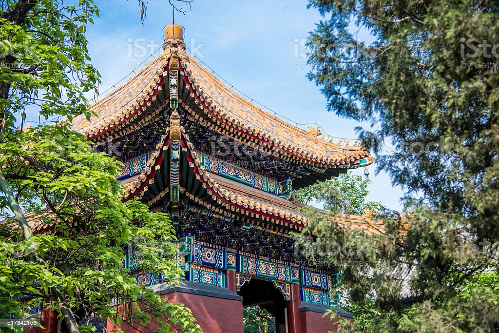 Building in Yonghegong Temple in Beijing, China stock photo