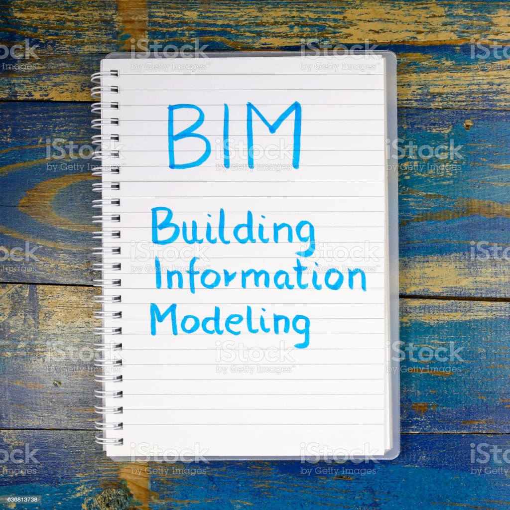 BIM- Building Information Modeling written in notebook stock photo