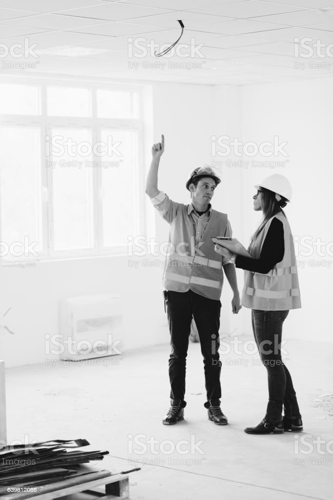 Building inspectors at work stock photo
