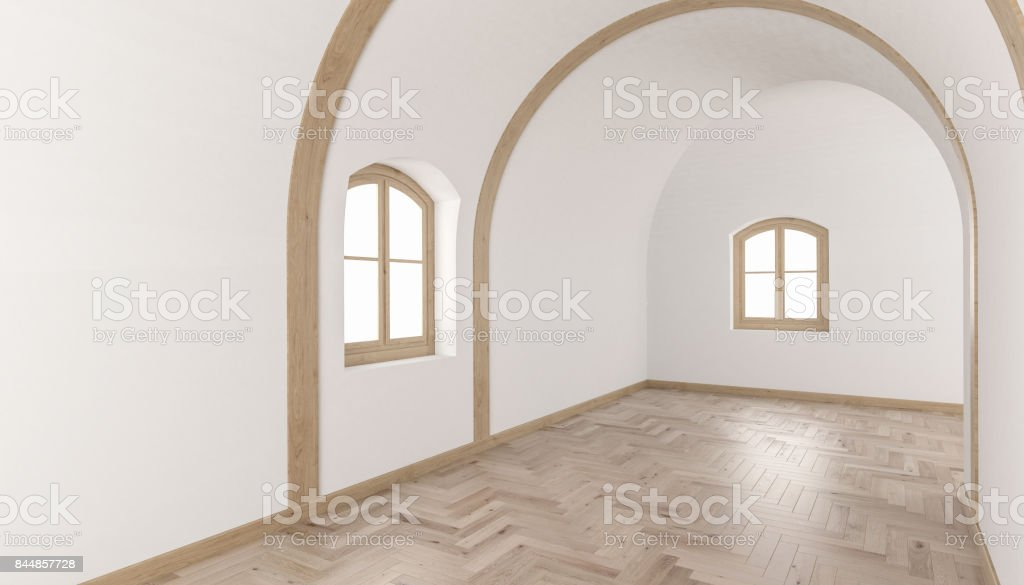 Building Interior with a Barrel Vault Ceiling stock photo