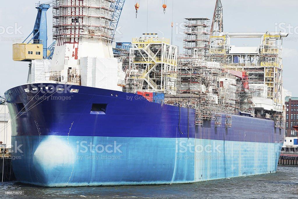 Building Large Industrial Ship in Shipyard, Hamburg Harbor stock photo