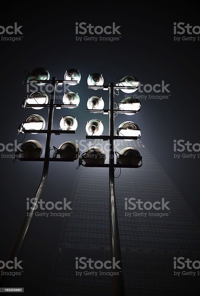 Building lighting under moonlight royalty-free stock photo