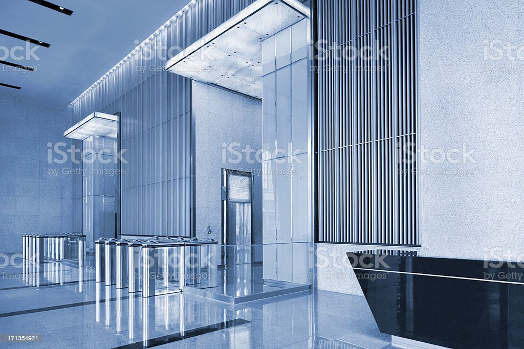 Building Lobby Toned In Blue stock photo