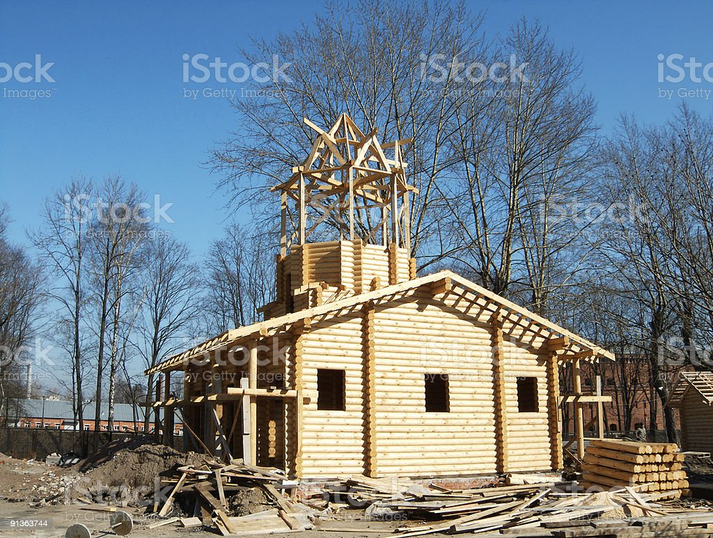 Building log house stock photo