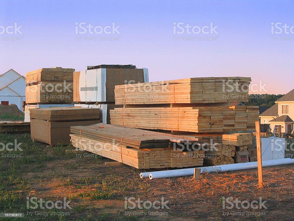 Building Lumber at Dusk royalty-free stock photo