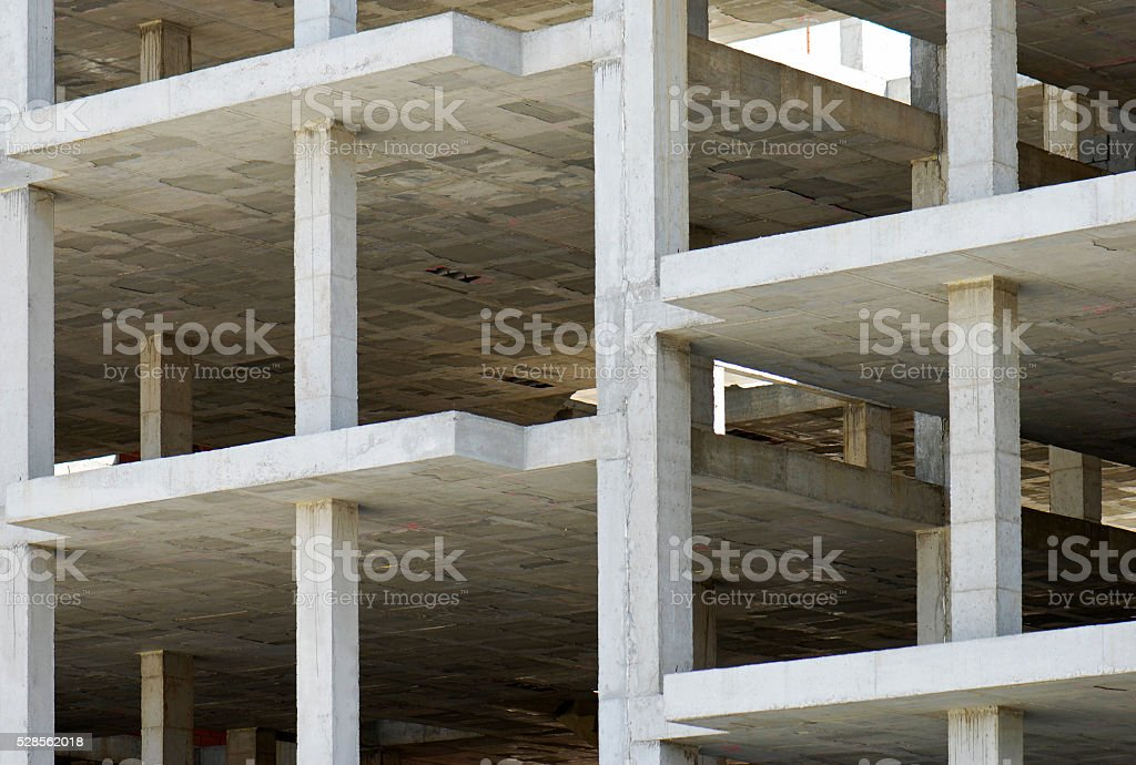 building made with precast concrete slabs stock photo