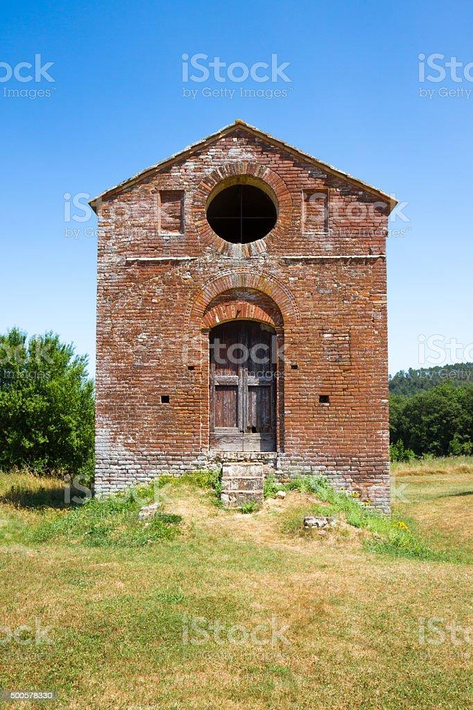 Building near abbey of San Galgano in Siena, Tuscany, Italy stock photo