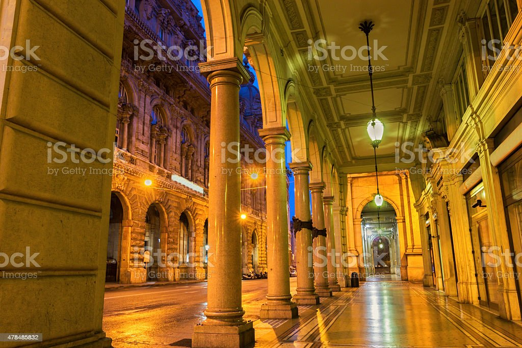 Building near Piazza de Ferrari in Genoa in Italy stock photo