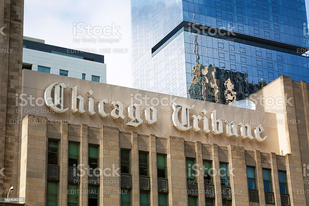 Building of Chicago Tribune stock photo