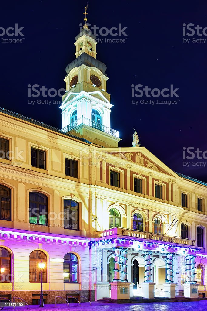Building of City Council in center of Riga at night stock photo