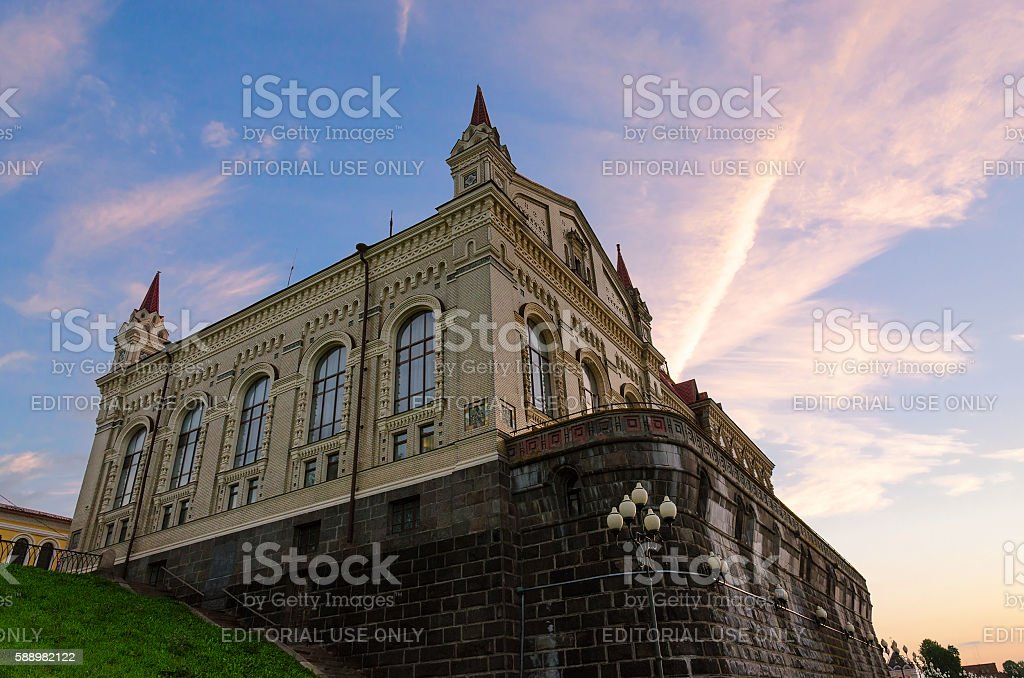 Building of former Grain Exchange on sky background, Rybinsk, Russia stock photo