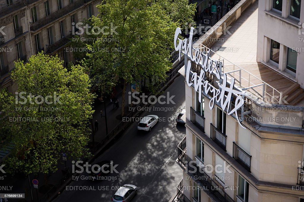 Building of Galeries Lafayette. stock photo