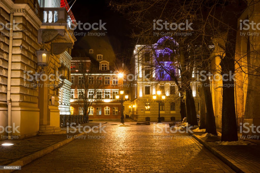 Building of Latvian Saeima in old Riga stock photo