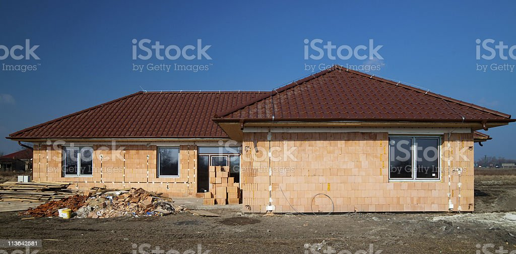 Building of new single family house stock photo