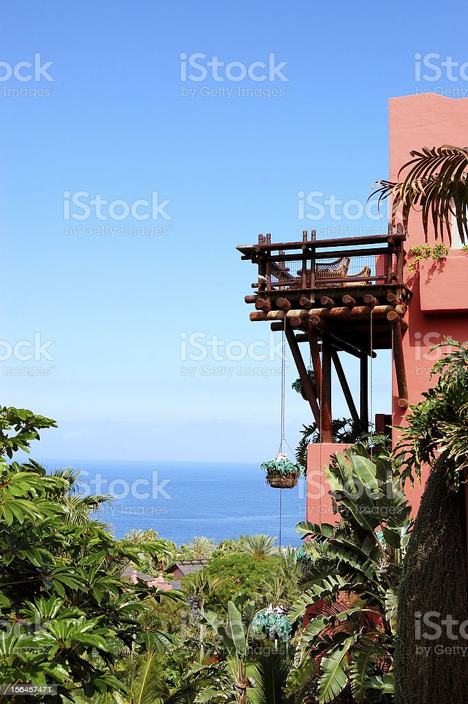 Building of oriental style luxury hotel, Tenerife island, Spain royalty-free stock photo