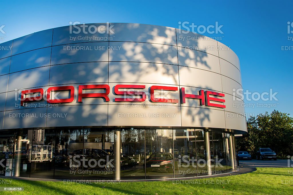 Building of polish Porsche dealer in Wroclaw. stock photo