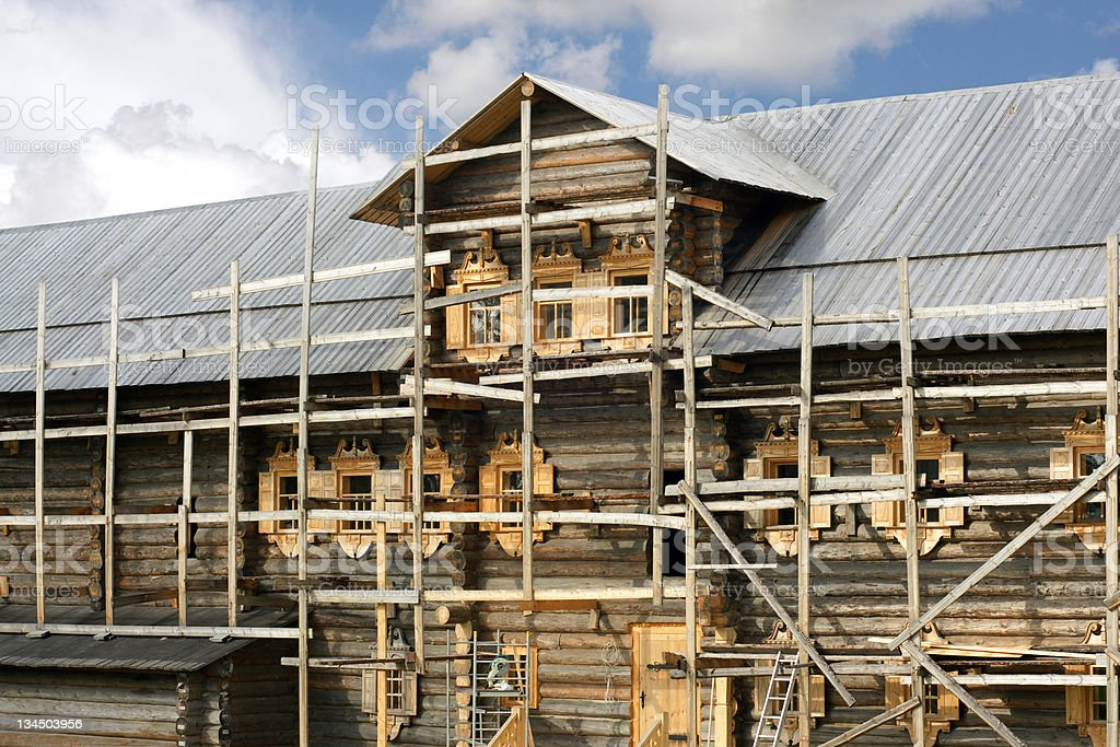 Building of russian wooden house royalty-free stock photo
