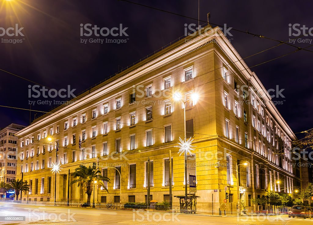 Building of the Bank of Greece in Athens stock photo