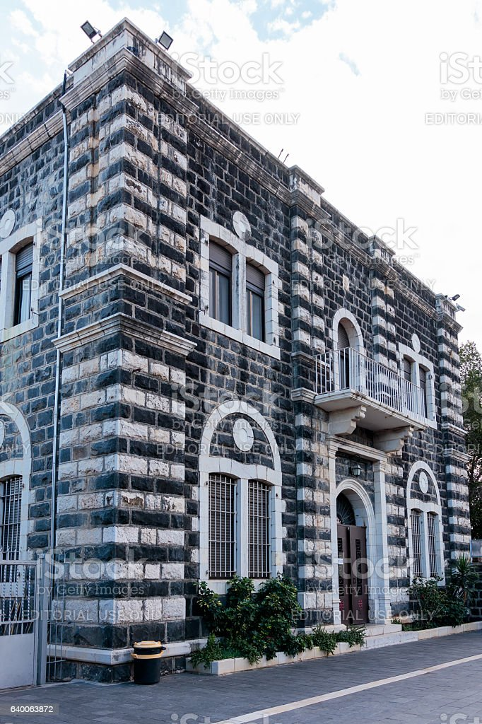 Building of the Catholic Franciscan monastery in Capernaum stock photo
