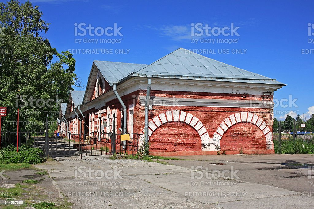 Building of the Dutch kitchen in Kronstadt, Russia stock photo