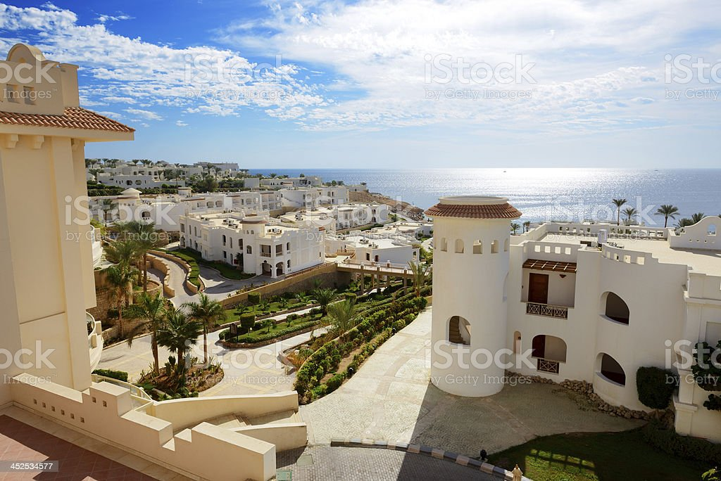 Building of the luxury hotel, Sharm el Sheikh, Egypt stock photo