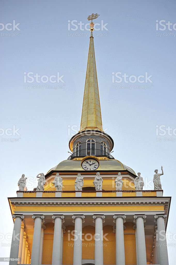 Building of the main Admiralty in Saint-Petersburg, Russia stock photo