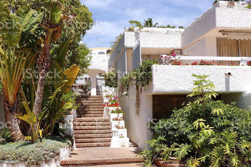 Building of the oriental style luxury hotel, Tenerife island, Spain stock photo