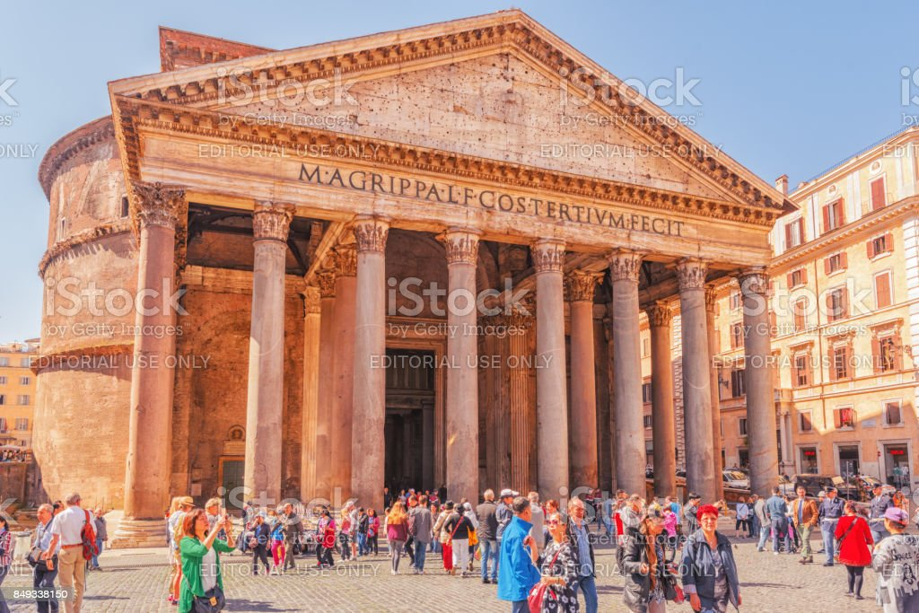 Building of the Pantheon,is a former Roman temple, now a church, in Rome. stock photo
