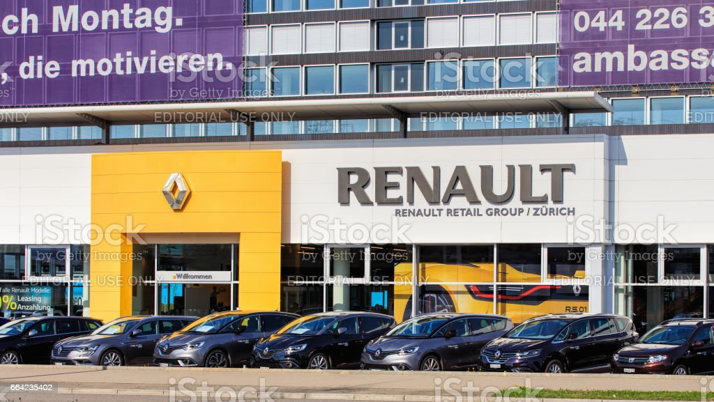 partial view of the building of the Renault Retail Group Zurich on...